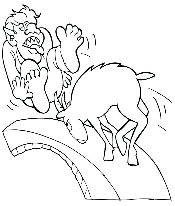700x823 Three Billy Goats Gruff Coloring Pages Coloring Trend Medium Size