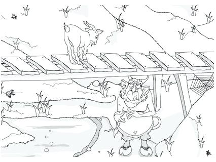 426x320 Three Billy Goats Gruff Coloring Pages Online Story Three Billy