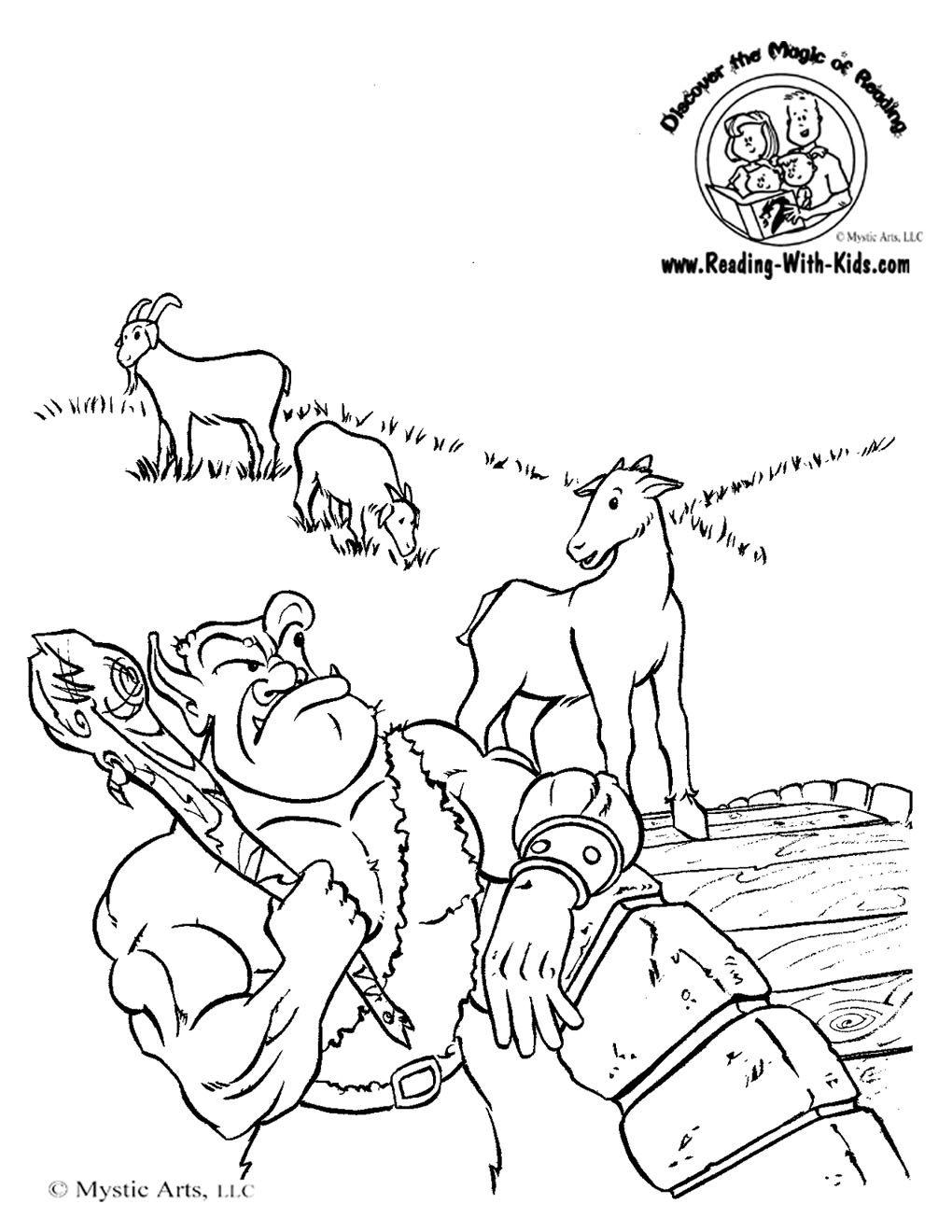 1020x1320 Three Billy Goats Gruff Coloring Sheet