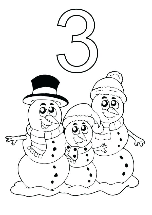600x847 Number Coloring Page Learn Number With Three Snowman Coloring