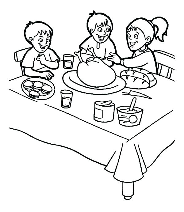 600x692 Thanksgiving Feast Coloring Pages Thanksgiving Day Coloring Pages