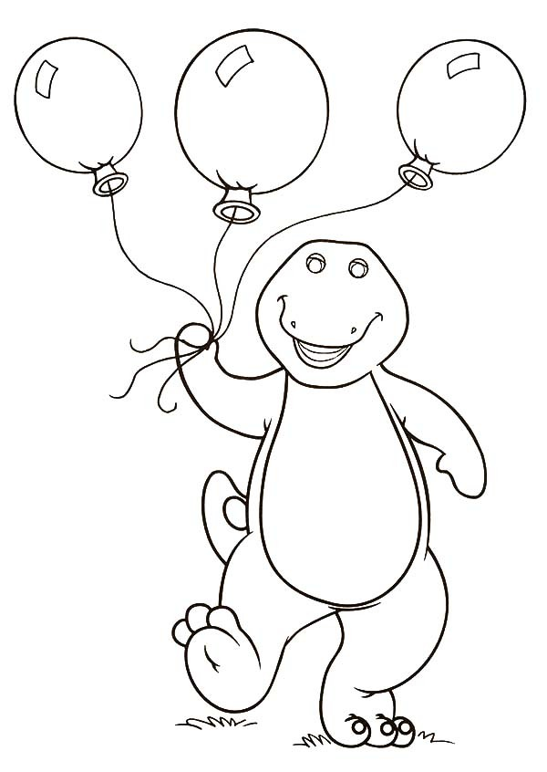 600x846 Barney Holding Three Balloons Coloring Pages Best Place To Color