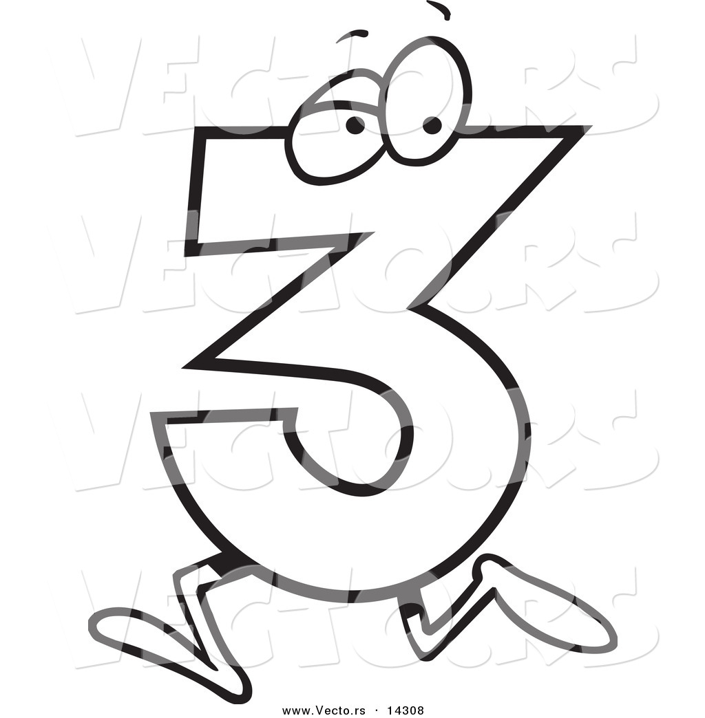 1024x1044 Vector Of A Cartoon Running Number Three Coloring Page Outline