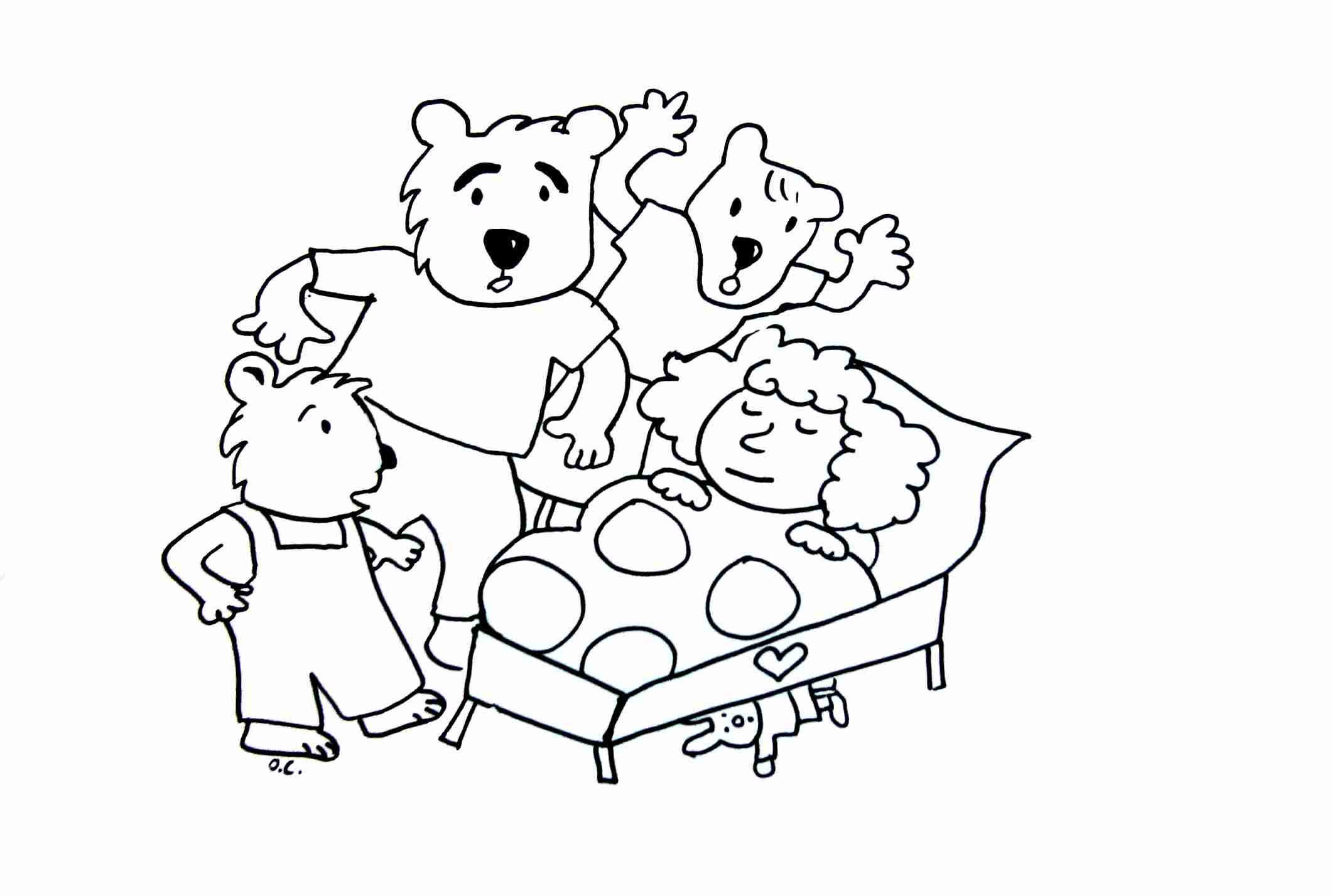 2121x1428 Goldilocks And The Tree Bears Fairy Tales Coloring Pages