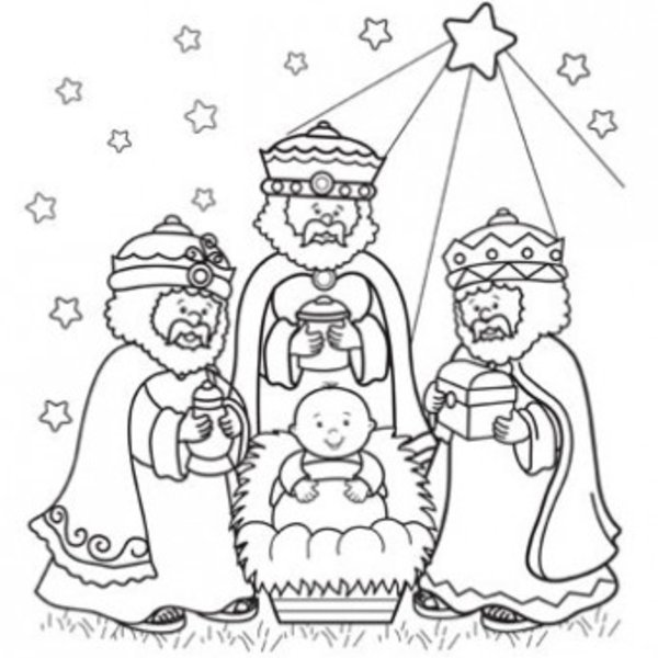 600x600 Three Kings Day Coloring Pages Wisemen Craft Three Wise Men