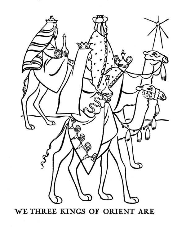 600x734 Journey Of Three Kings Bible Christmas Story Coloring Pages Best