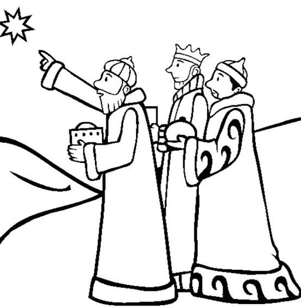 600x612 Three Kings Following Star Of Bethlehem Coloring Pages Batch