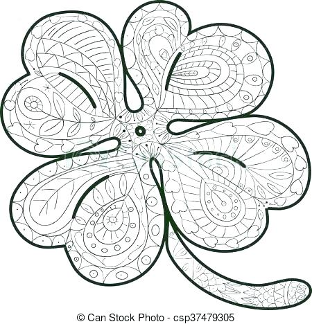450x468 Four Leaf Clover Coloring Four Leaf Clover Coloring Four Leaf