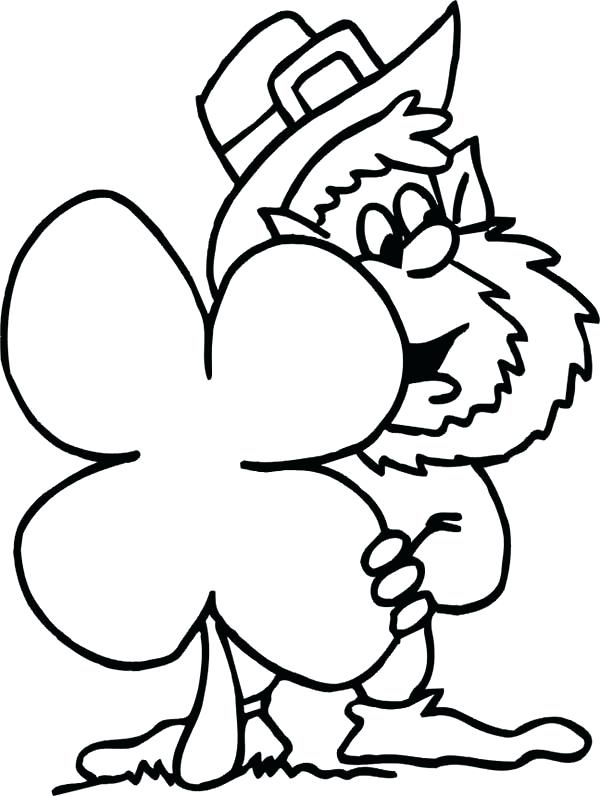 600x796 A Drawing Of Three Leaf Clover Coloring Page