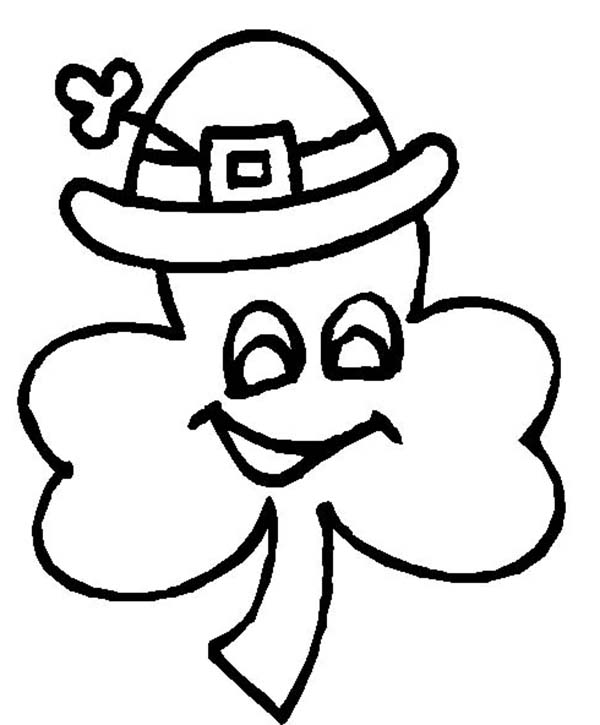 600x725 A Four Leaf Clover Wearing Irish Hat Coloring Page Color Luna