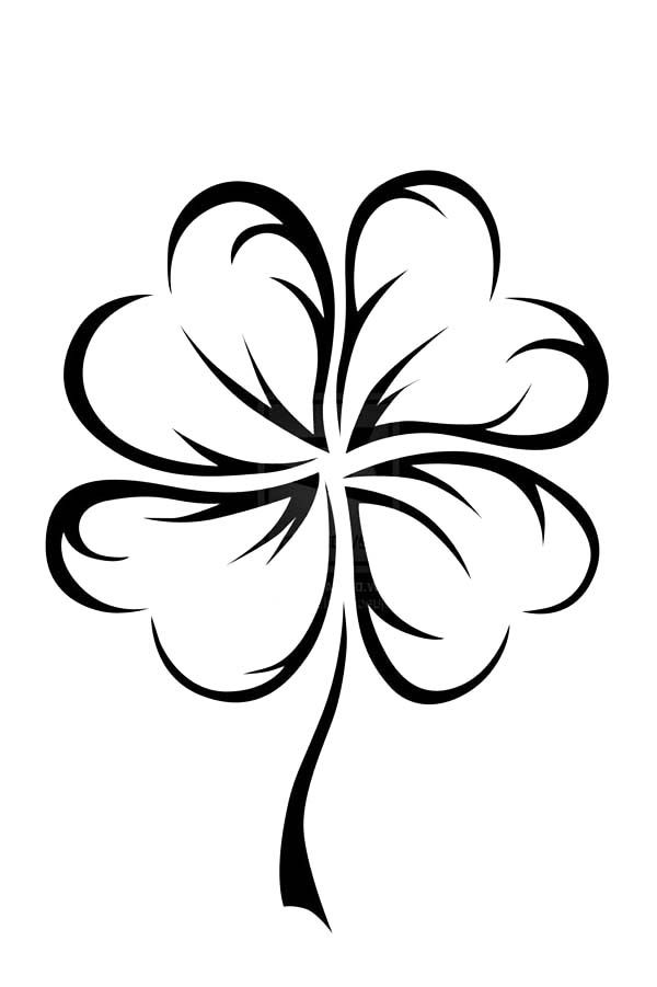 600x901 An Art Graphic Of Four Leaf Clover Coloring Page