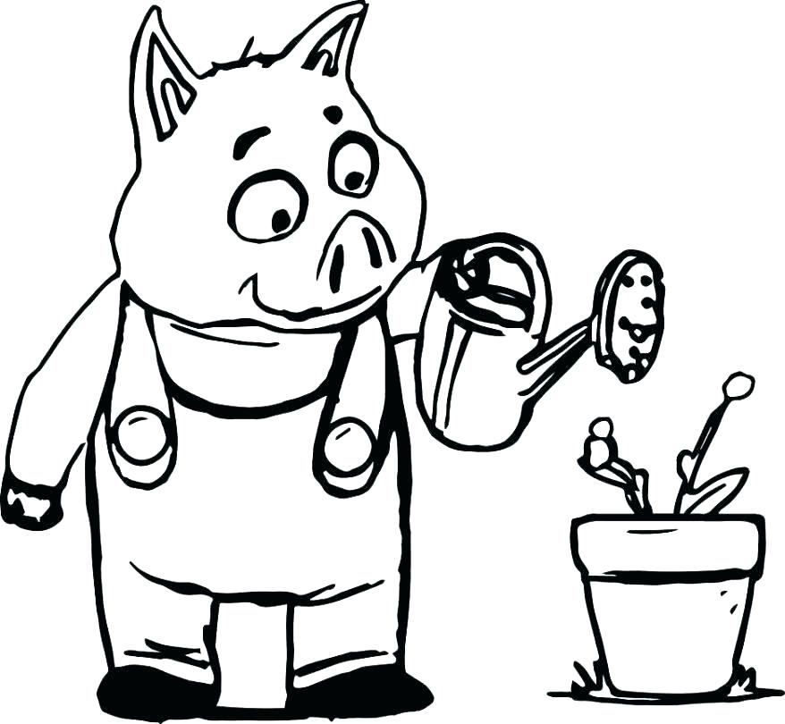 878x810 Coloring Pages Pigs House Building Pig Three Little Pigs Coloring