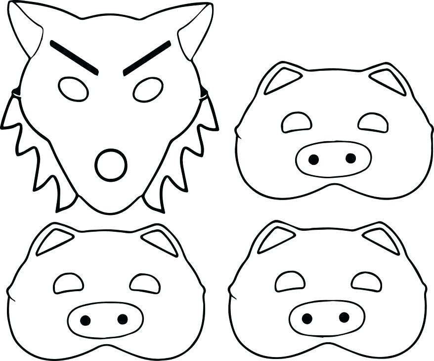 878x729 Little Pigs And Wolf Mask Coloring Page Excellent Three Little