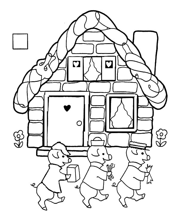 600x734 The Tale Of Three Little Pigs Coloring Pages Batch Coloring