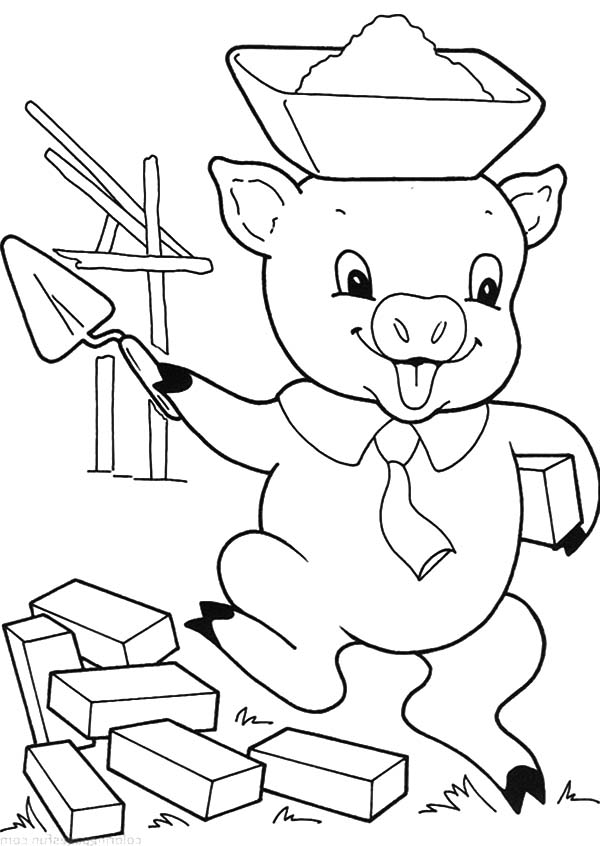 600x846 Three Little Pigs Build Their New House Coloring Pages Batch