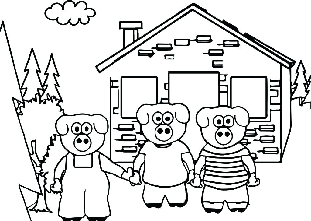 1024x726 Three Little Pigs Coloring Page The House Of Three Little Pigs