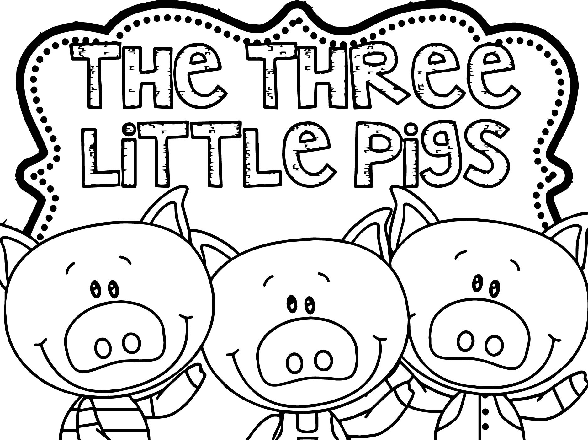 1875x1402 Three Little Pigs Houses Coloring Pages Free Coloring Book