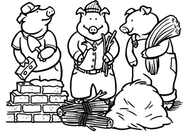 600x447 Three Little Pigs On Constructions Job Coloring Pages Batch Coloring