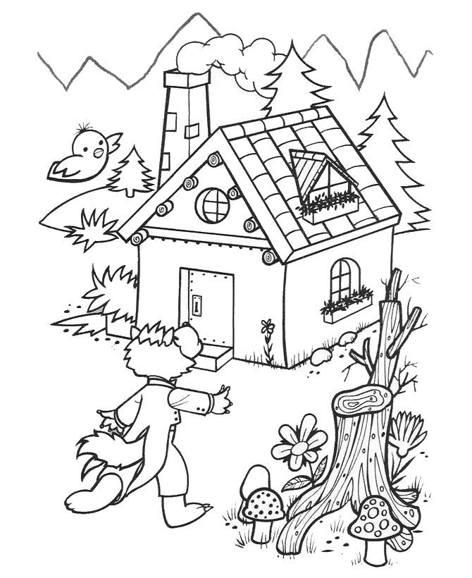 670x820 Little Pigs Brick House Colouring Pages