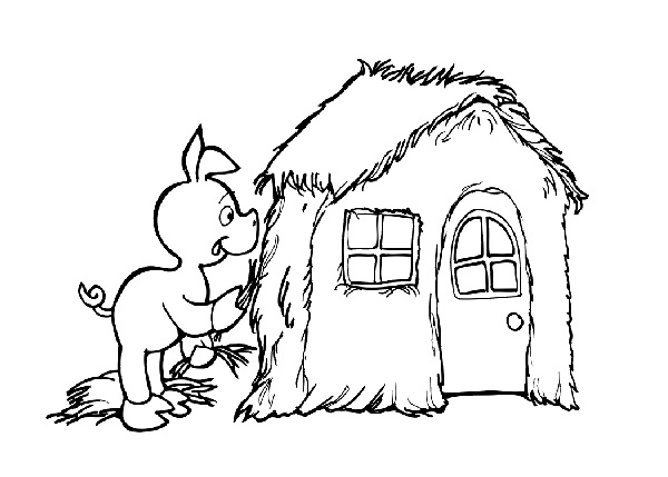 600x429 Three Little Pigs House Coloring Page
