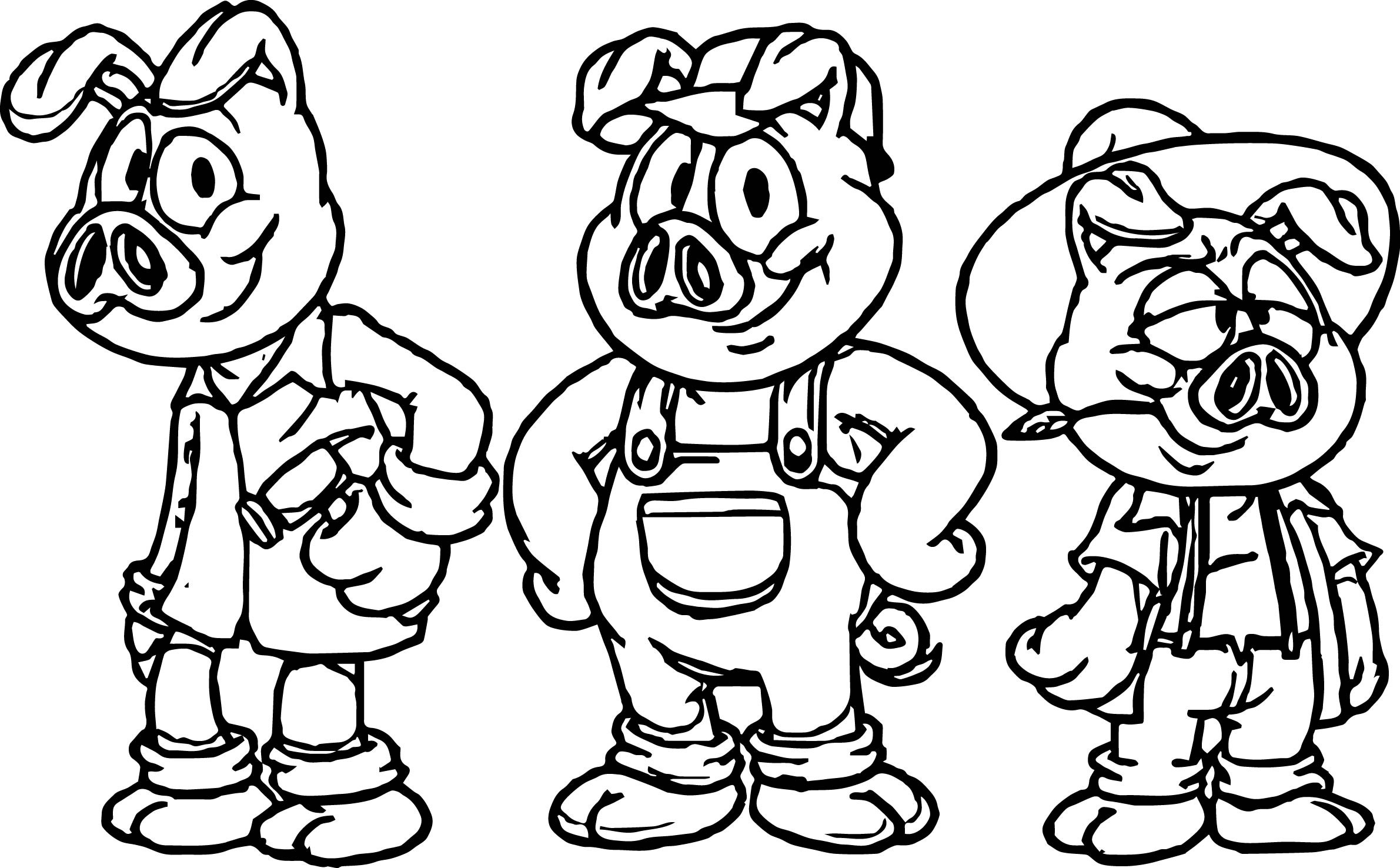 2381x1476 Three Little Pigs Houses Colouring Pages Free Draw To Color