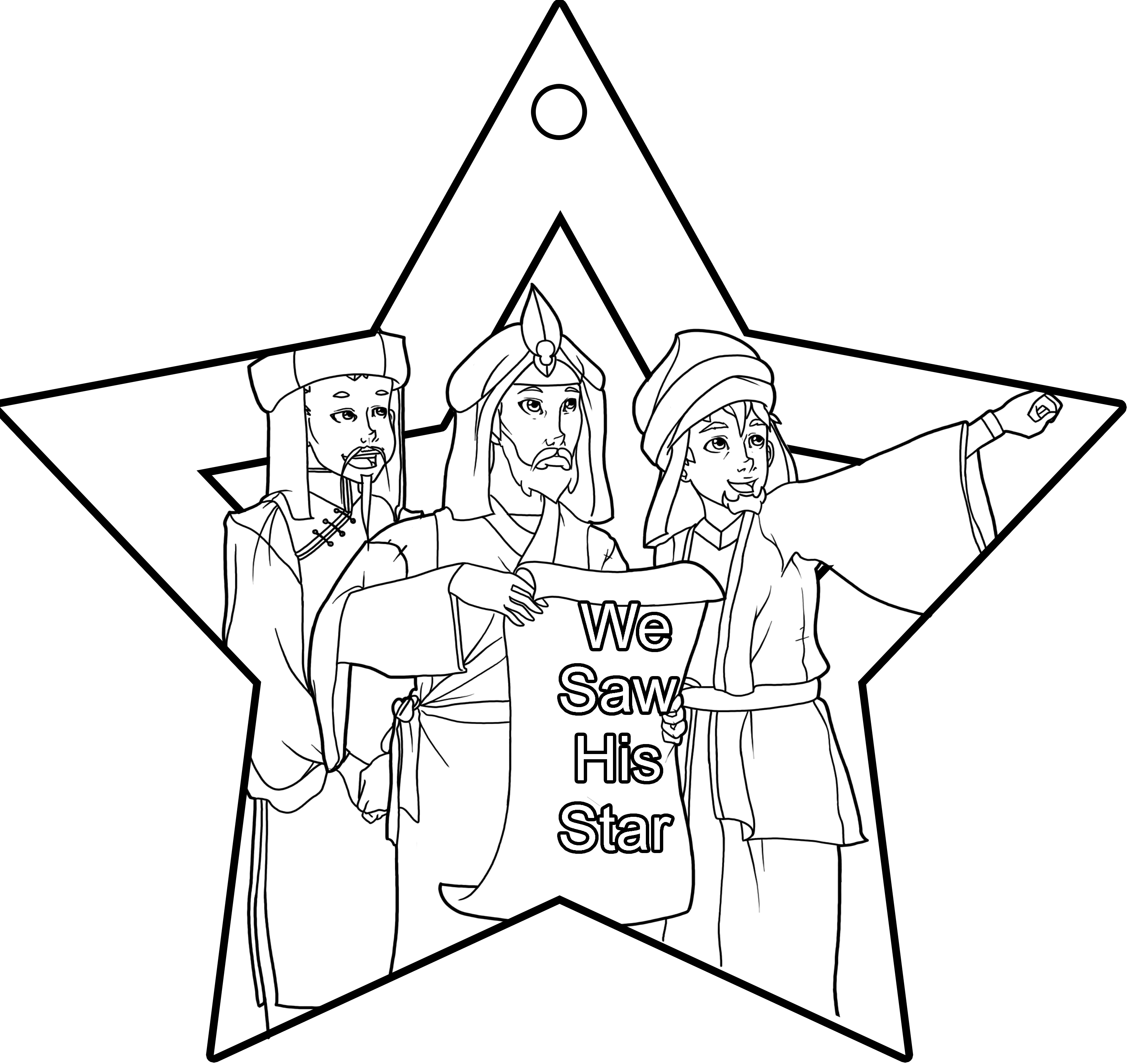3080x2880 Simple Free Coloring Pages Of The Three Wise Men Figure Nativity