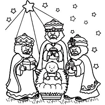 340x340 Three Wise Men Welcoming Baby Jesus Christmas Coloring Pages