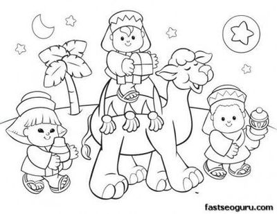 400x309 Free Printable Coloring Christmas Picture Of Wise Men Fargel