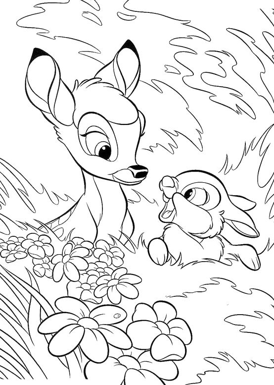 554x777 Bambi With Thumper Coloring Pages Coloring Pages