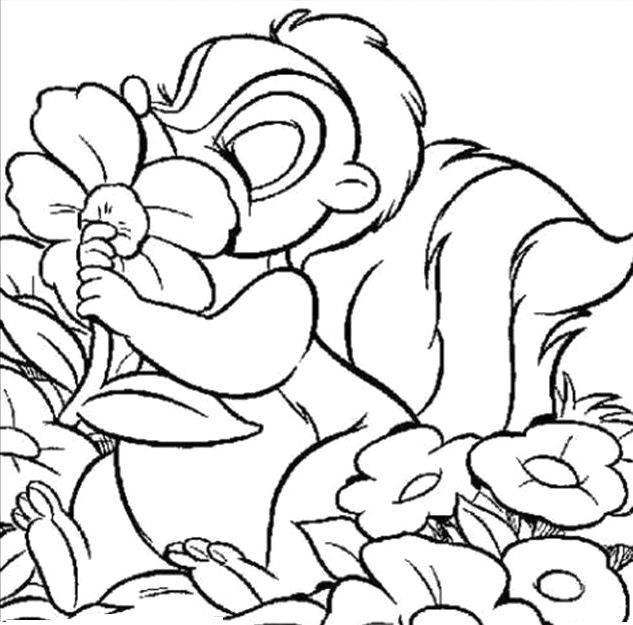 633x625 Thumper Kissing Flower Coloring Pages