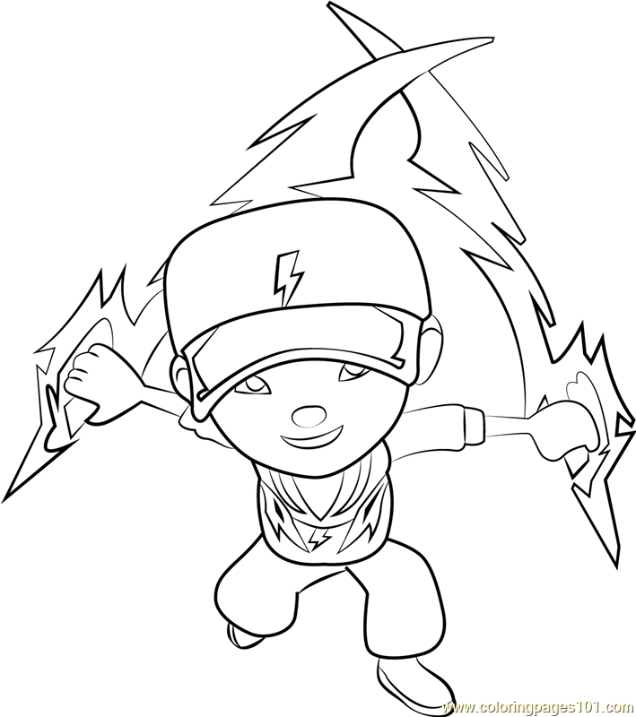 709x800 Boboiboy Thunderstorm Coloring Page