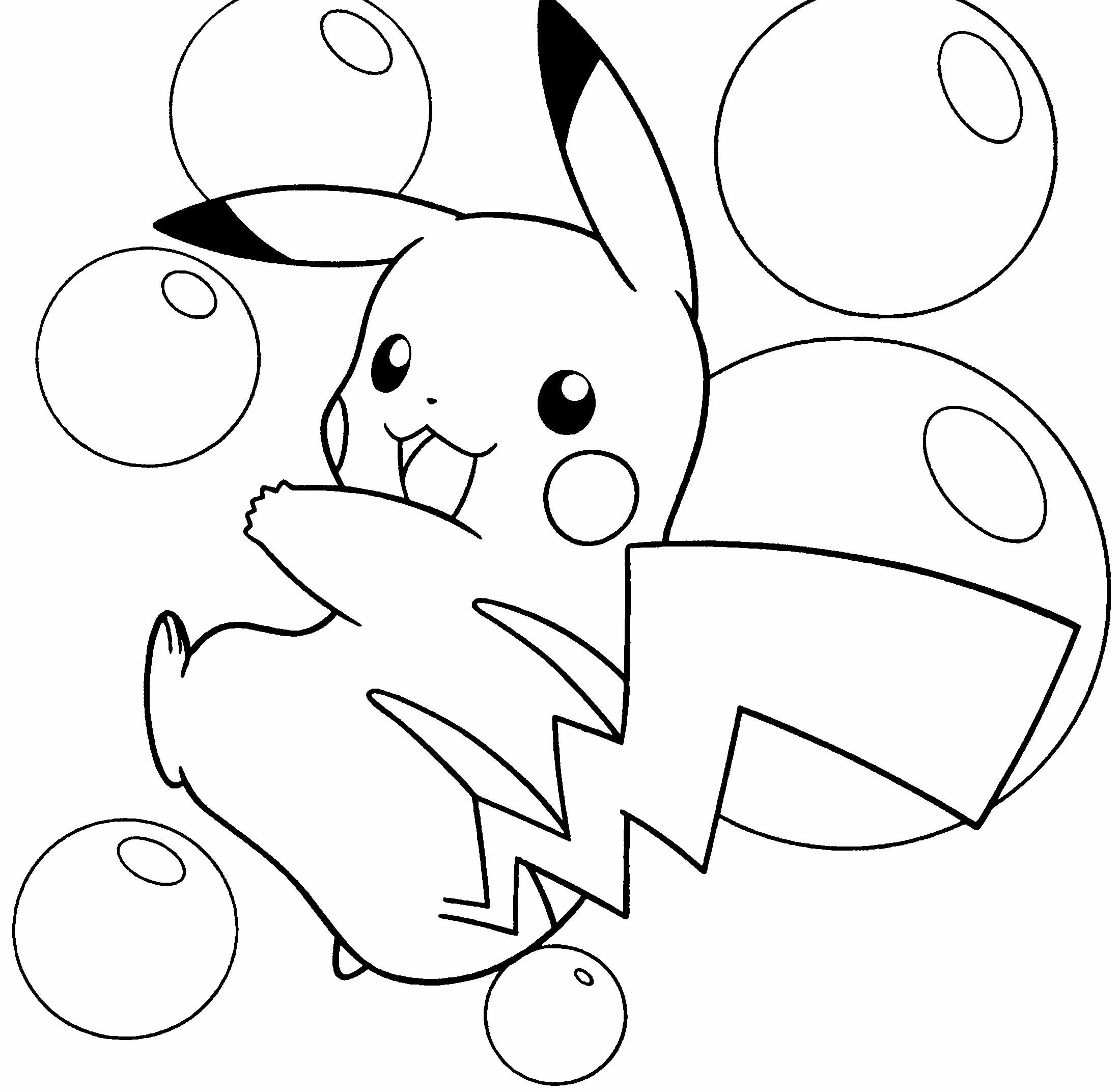 2200x2144 Pokemon Thunderbolt Attack Pikachu Coloring Pages Print Color