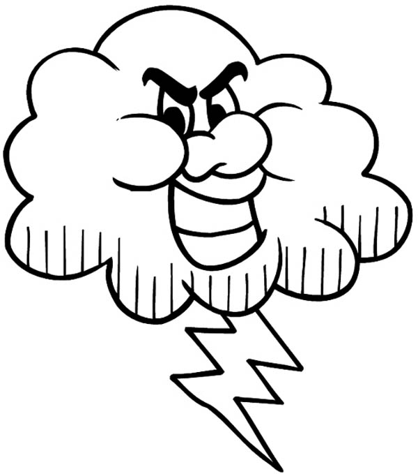 600x679 Cloud Lightning Bolt Coloring Page