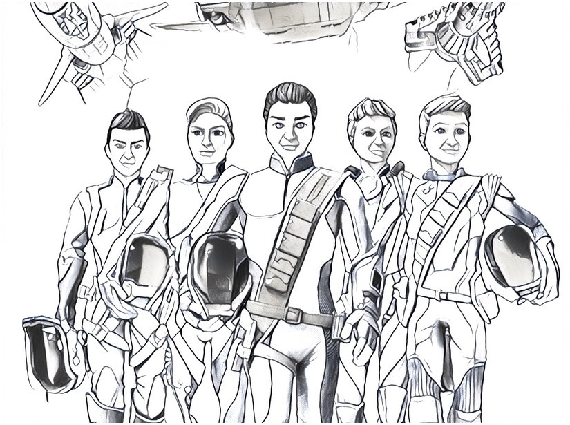 825x615 Coloring Pages Thunderbirds Drawing
