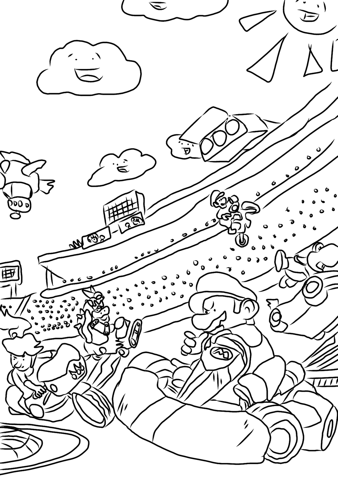 1131x1600 Mario Kart Coloring Pages