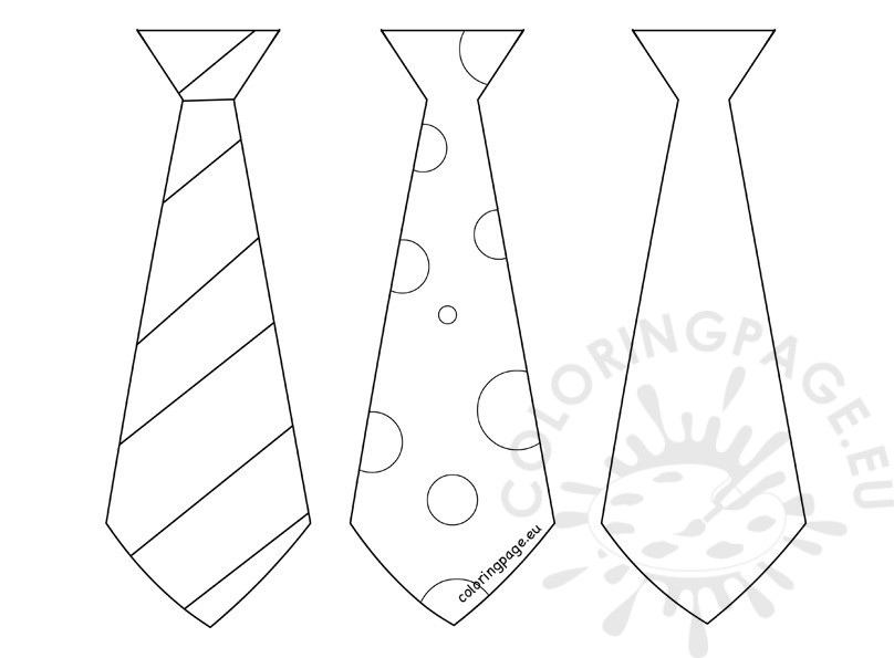 808x595 Father's Day Craft Three Tie Template Coloring Page