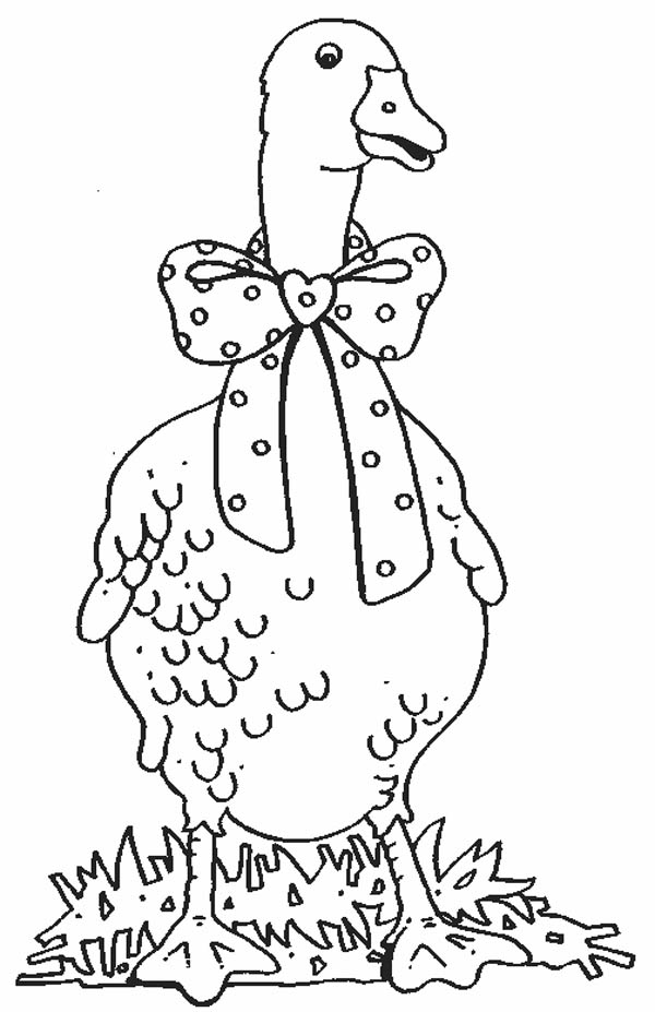 600x927 Goose With Bow Tie Coloring Page