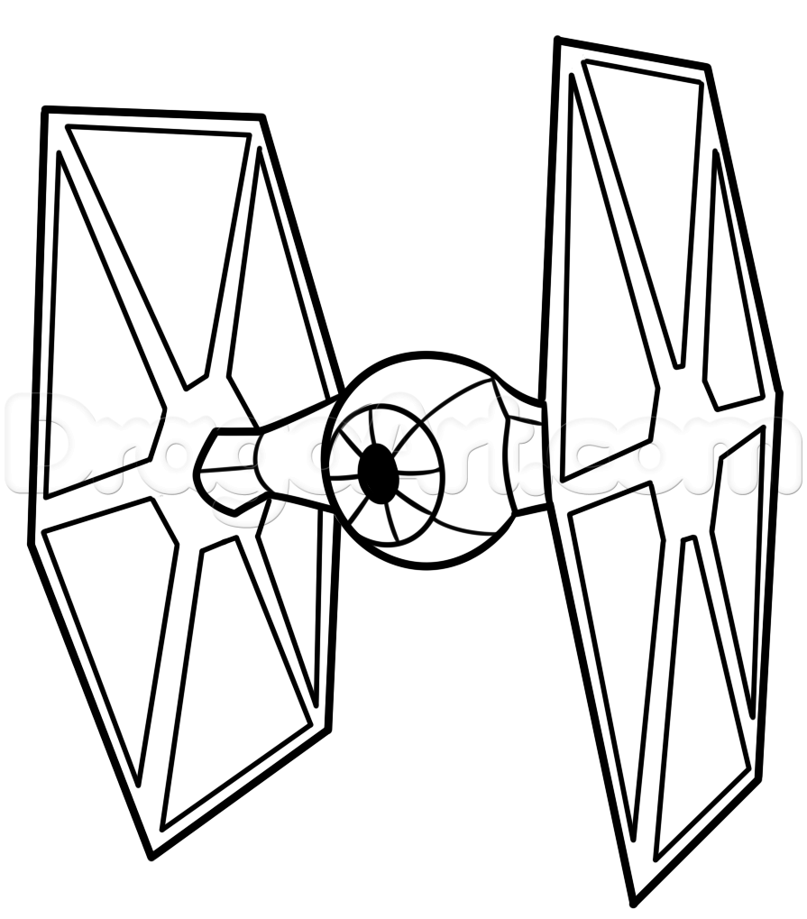 895x1019 How To Draw A Tie Fighter Easy Step Art Space