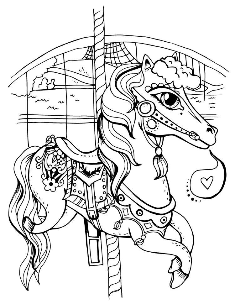 750x970 Spokane Carousel Horse Coloring Page Tiffany Patterson Art