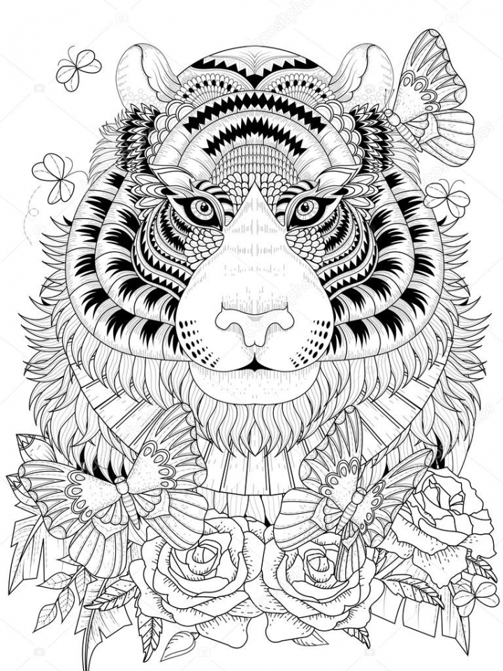 720x960 Get This Tiger Coloring Pages Intricate Zentangle Art For Adults