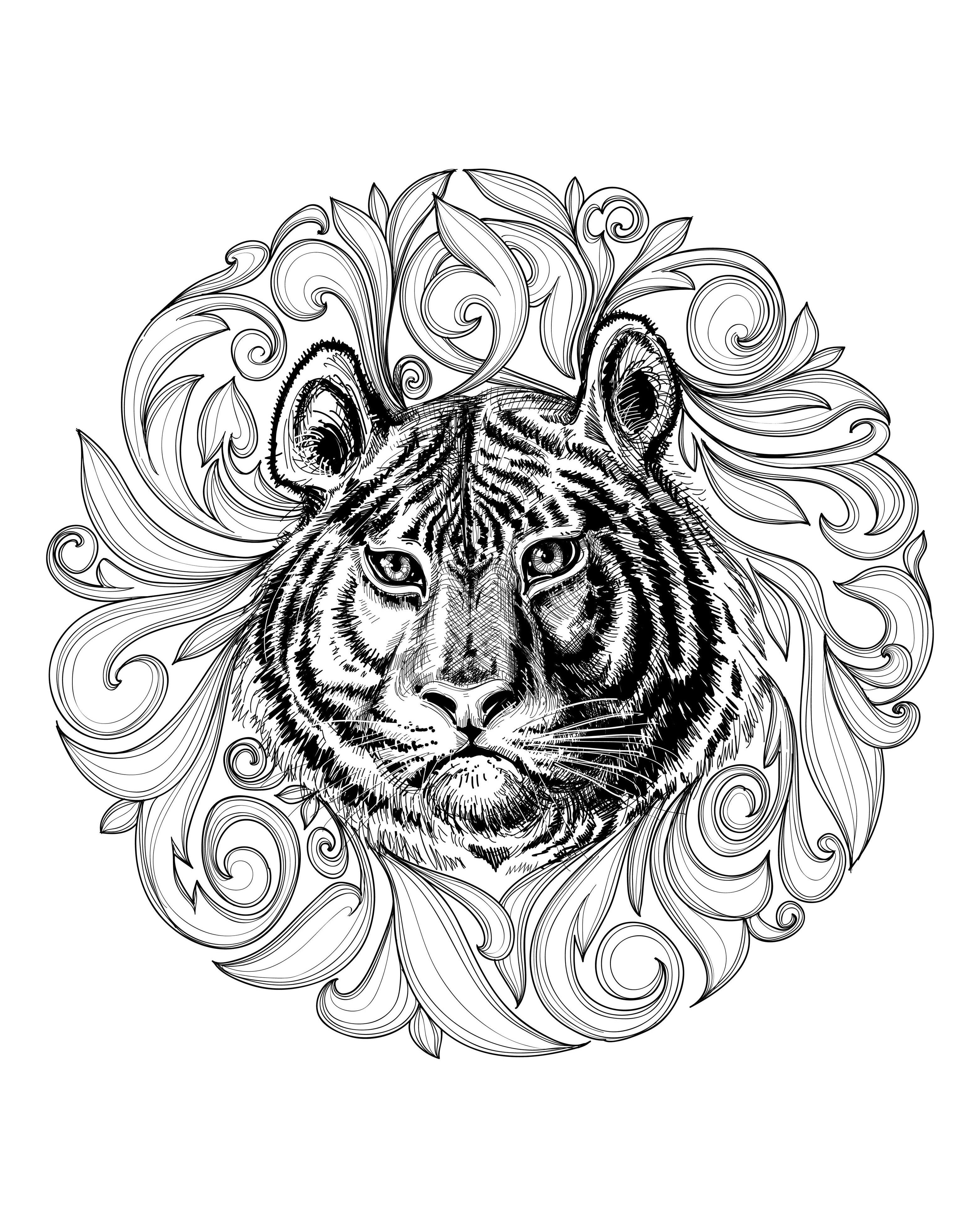 3128x3919 Africa Tiger Leaves Framework