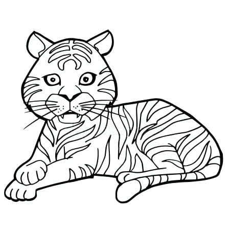 450x450 Cute Tiger Coloring Pages Cartoon Cute Tiger Coloring Page Vector