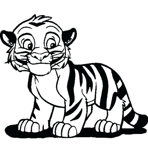 600x600 Cute Tiger Coloring Pages Cute Tiger Cub In Cartoon Coloring Page