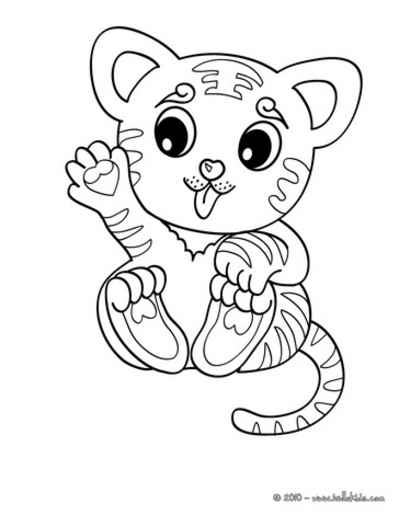 793x1024 Online Coloring Page Of Cute Cartoon Tiger Cub Quilts