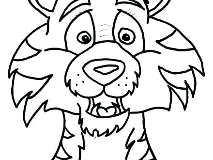 440x330 Cartoon Tiger Colouring Pages Face Coloring Page Free Of A Cute