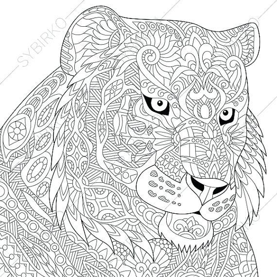 570x570 Tiger Animal Coloring Pages Furious Tiger Mandala Animal Coloring