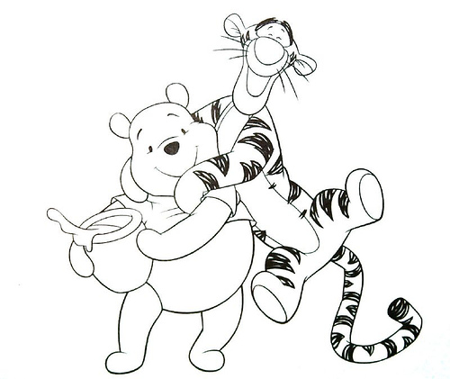 500x421 Tigger And Pooh Coloring Pages Pooh And Tigger Coloring Pages Kids