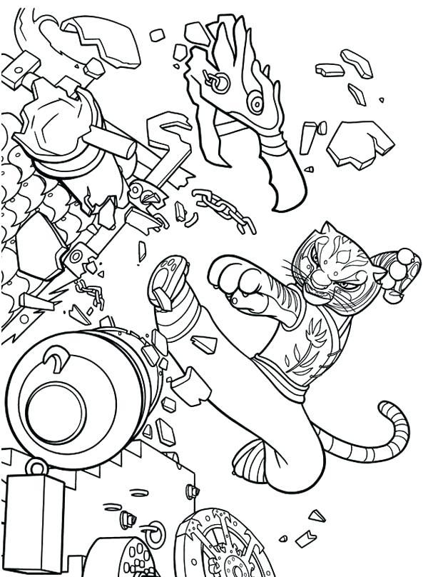 600x808 Kung Fu Panda Coloring Pages Panda Tigress Kick Destroying Canon