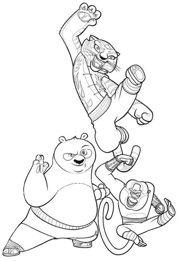 600x882 Po And Tigress And Monkey From Kung Fu Panda Coloring Page