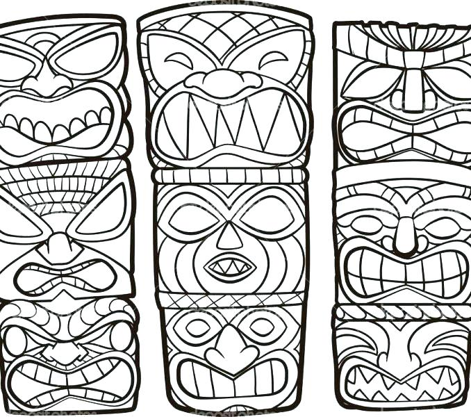 678x600 Hawaiian Tiki Mask Coloring Pages Page